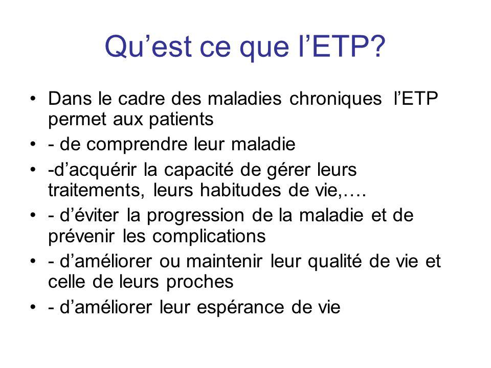 Qu'est ce que l'ETP Dans le cadre des maladies chroniques l'ETP permet aux patients. - de comprendre leur maladie.