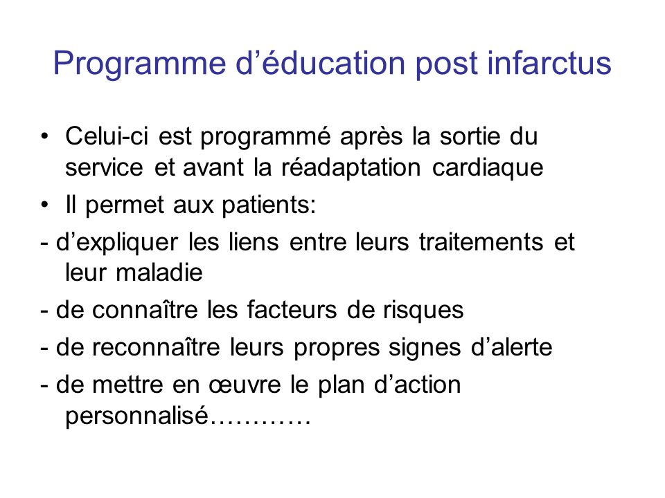 Programme d'éducation post infarctus