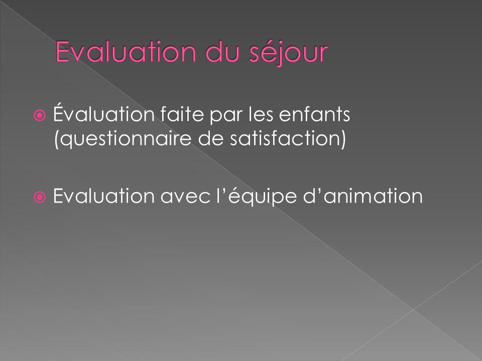 Evaluation du séjour Évaluation faite par les enfants (questionnaire de satisfaction) Evaluation avec l'équipe d'animation.