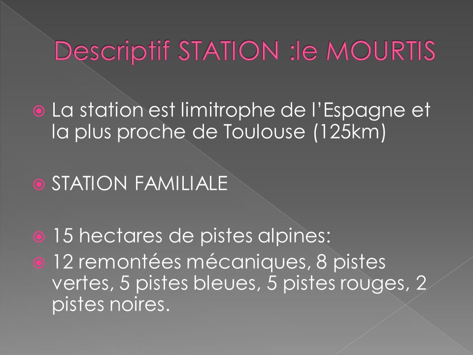 Descriptif STATION :le MOURTIS