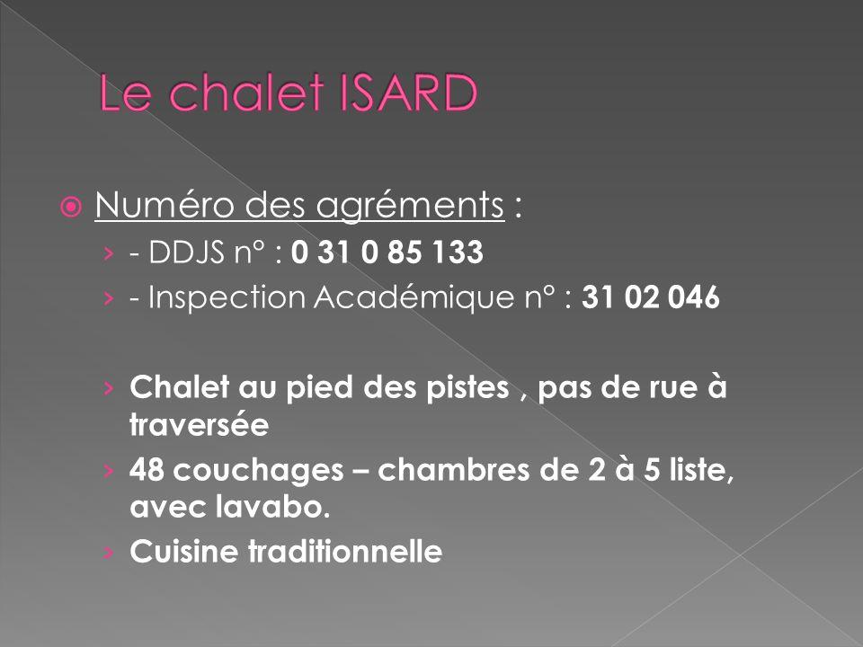 Le chalet ISARD Numéro des agréments : - DDJS n° : 0 31 0 85 133