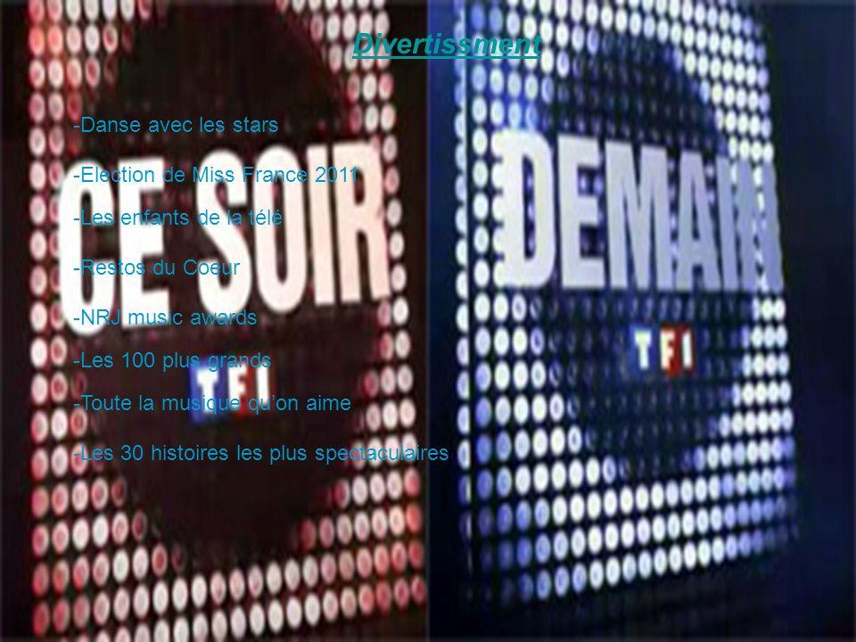 Divertissment-Danse avec les stars. -Election de Miss France 2011. -Les enfants de la télé. -Restos du Coeur.
