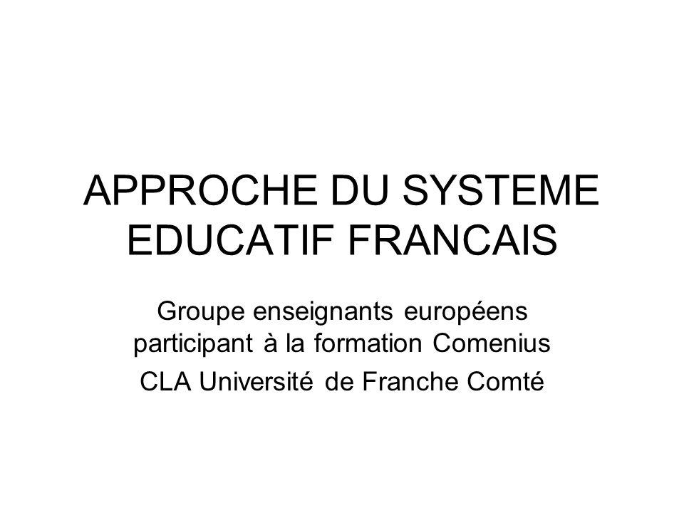 APPROCHE DU SYSTEME EDUCATIF FRANCAIS