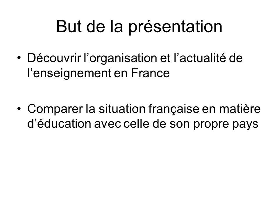But de la présentation Découvrir l'organisation et l'actualité de l'enseignement en France.