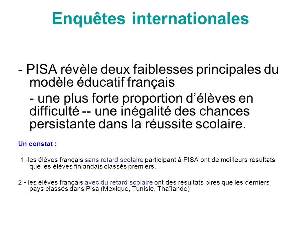 Enquêtes internationales
