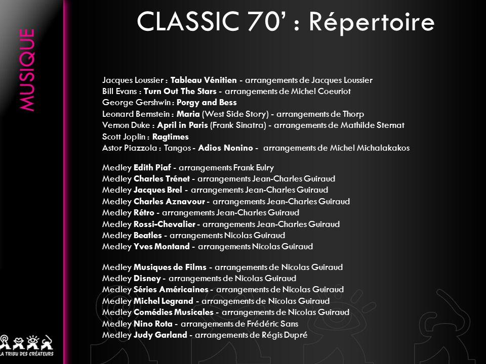 CLASSIC 70' : Répertoire