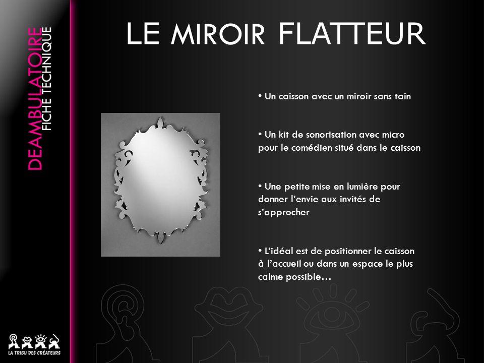 LE MIROIR FLATTEUR • Un caisson avec un miroir sans tain