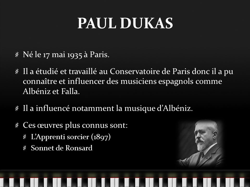 PAUL DUKAS Né le 17 mai 1935 à Paris.