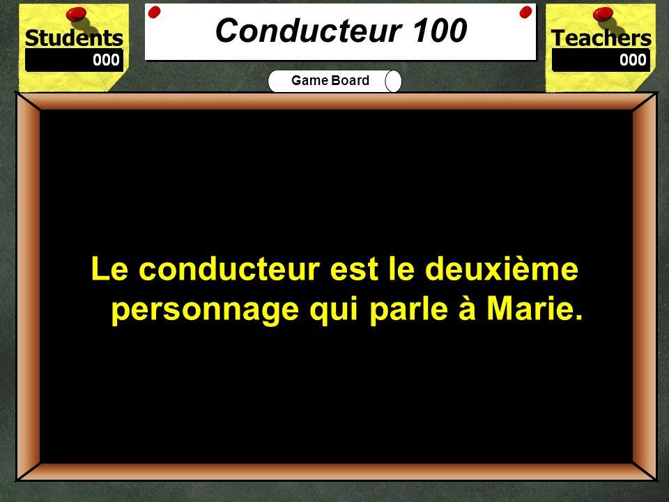 Conducteur 100 Le conducteur est le deuxième personnage qui parle à Marie.