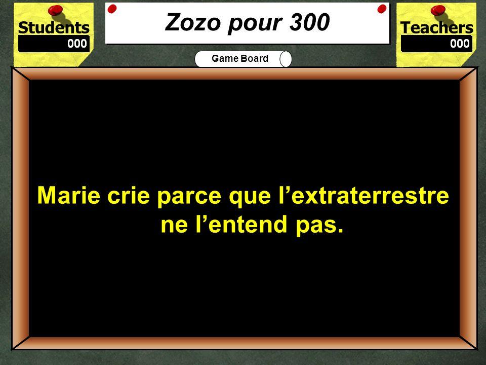 Zozo pour 300 Marie crie parce que l'extraterrestre ne l'entend pas.