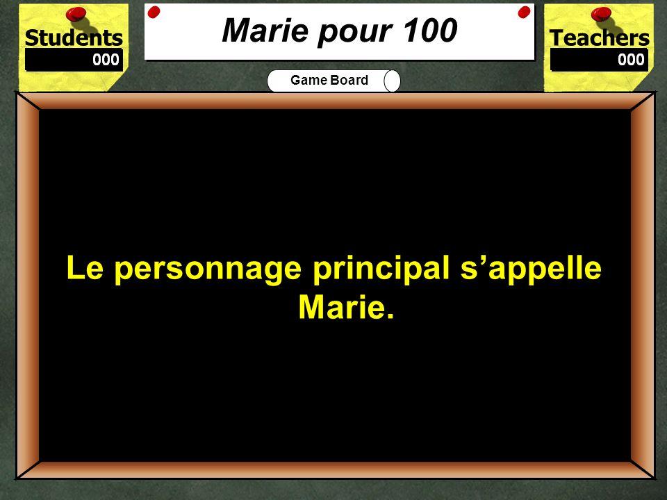 100 Marie pour 100 Le personnage principal s'appelle Marie.