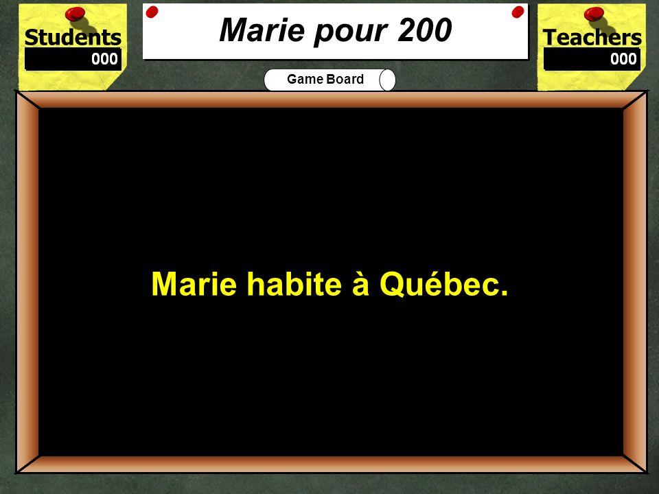 Marie pour 200 Marie habite à Québec. 200 Où habite Marie