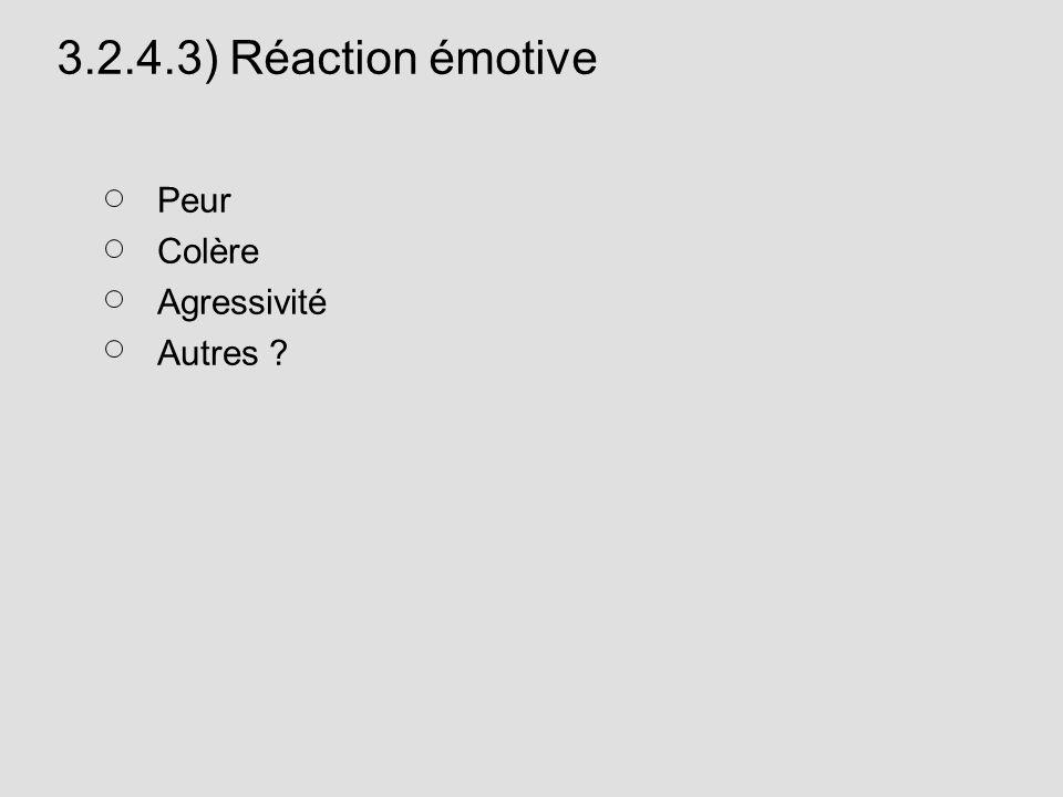3.2.4.3) Réaction émotive Peur Colère Agressivité Autres