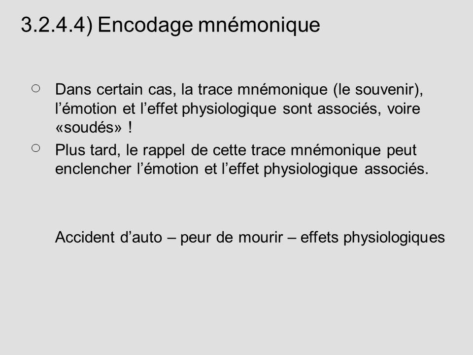 3.2.4.4) Encodage mnémoniqueDans certain cas, la trace mnémonique (le souvenir), l'émotion et l'effet physiologique sont associés, voire «soudés» !