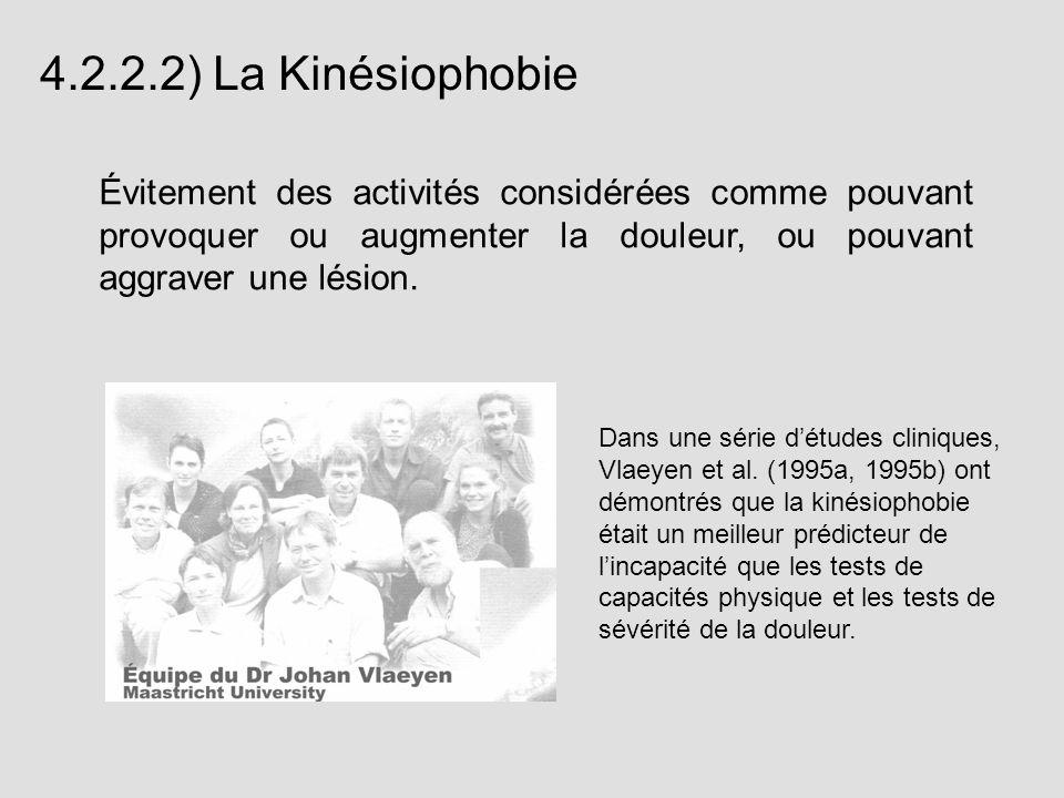 4.2.2.2) La KinésiophobieÉvitement des activités considérées comme pouvant provoquer ou augmenter la douleur, ou pouvant aggraver une lésion.