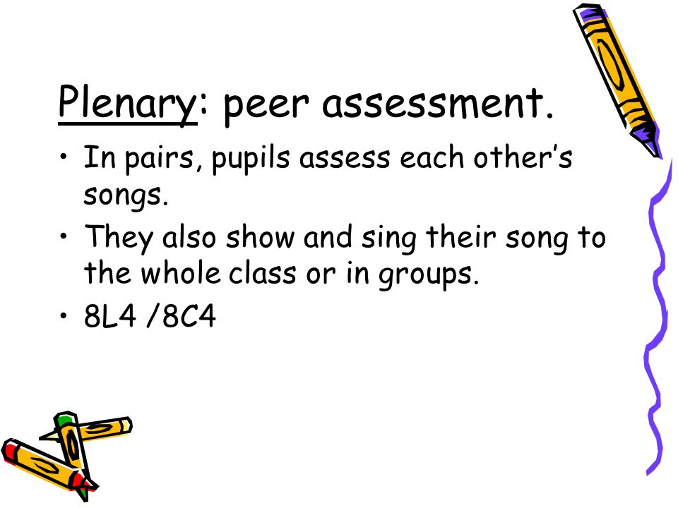 Plenary: peer assessment.