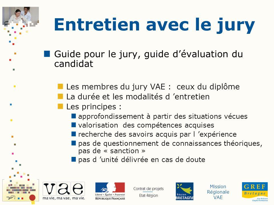 Entretien avec le jury Guide pour le jury, guide d'évaluation du candidat. Les membres du jury VAE : ceux du diplôme.
