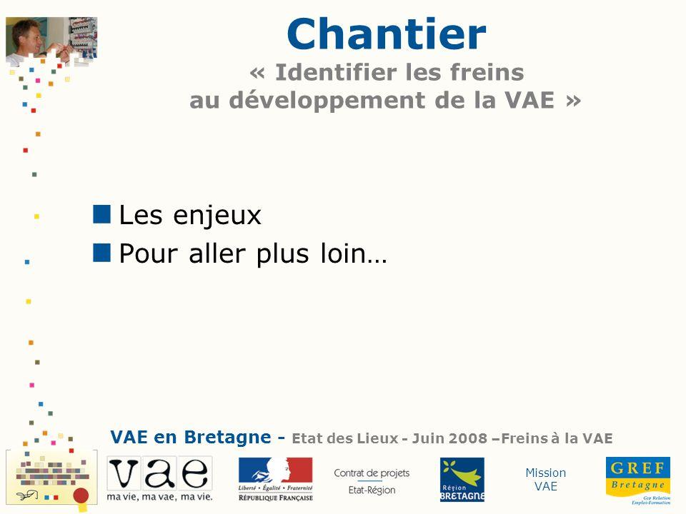 Chantier « Identifier les freins au développement de la VAE »