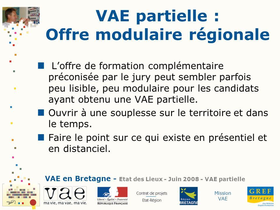 VAE partielle : Offre modulaire régionale