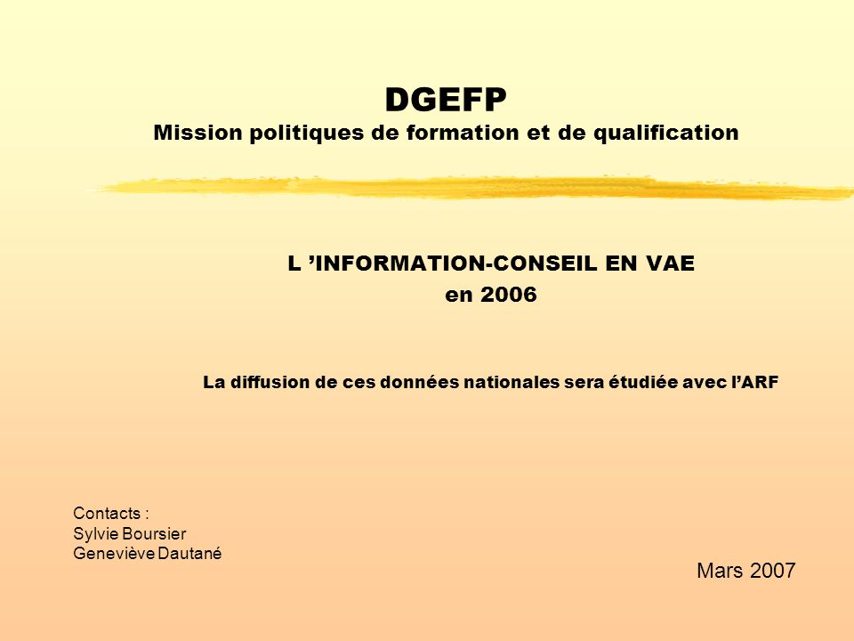 DGEFP Mission politiques de formation et de qualification