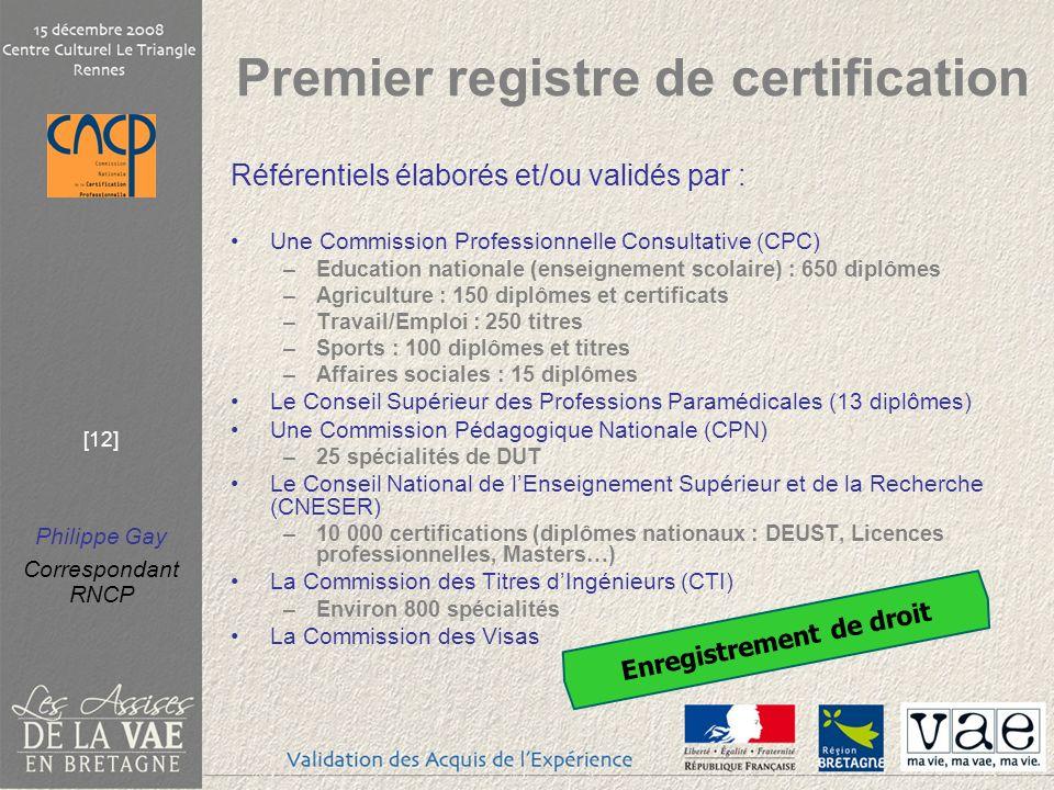 Premier registre de certification