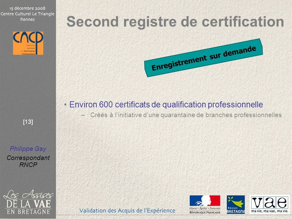 Second registre de certification