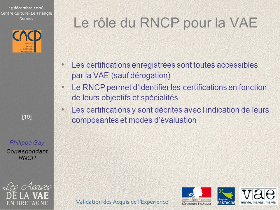 Le rôle du RNCP pour la VAE