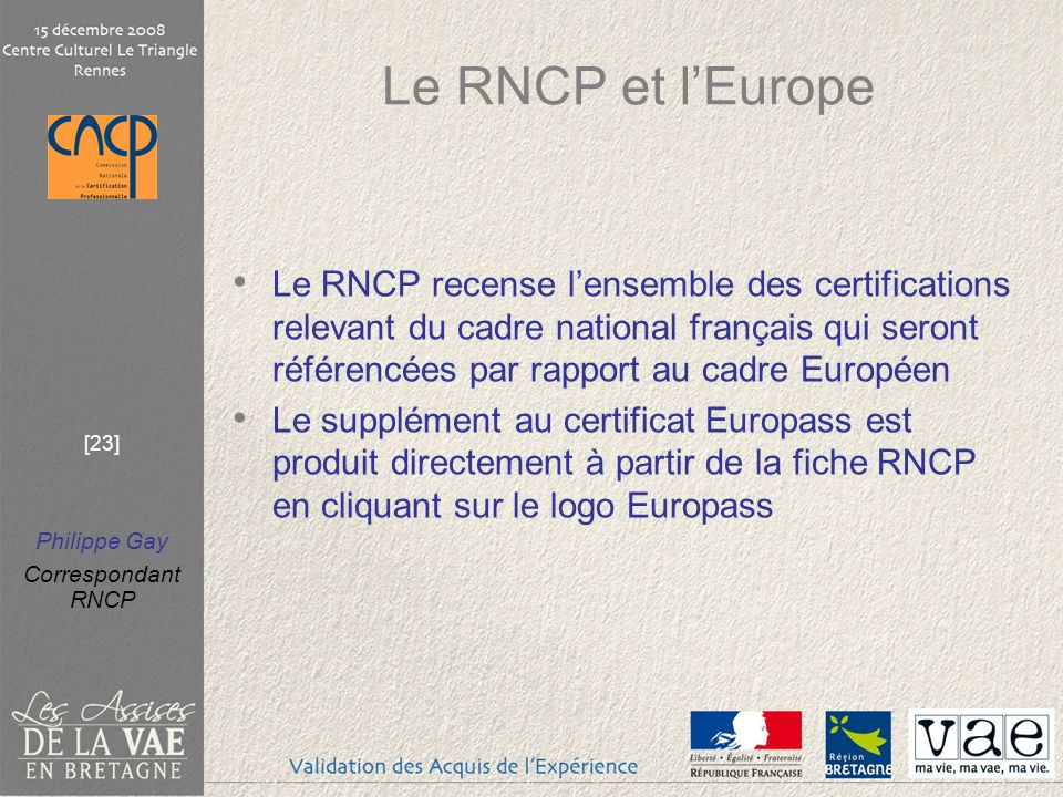 Le RNCP et l'Europe