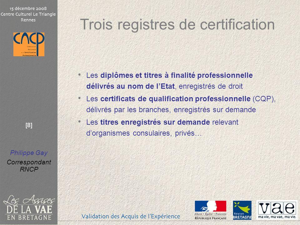 Trois registres de certification