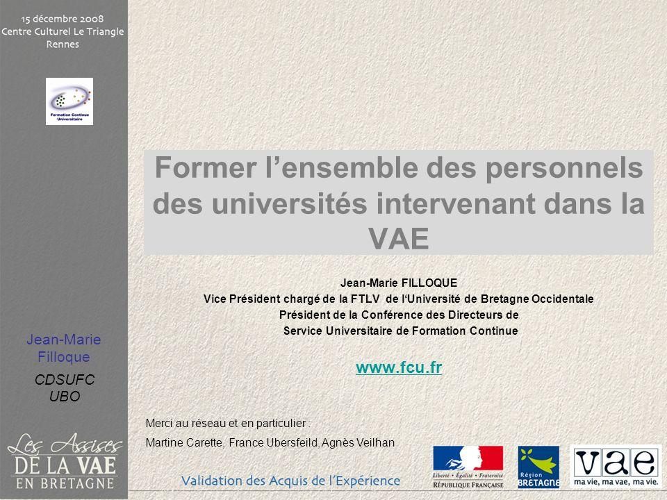 Former l'ensemble des personnels des universités intervenant dans la VAE