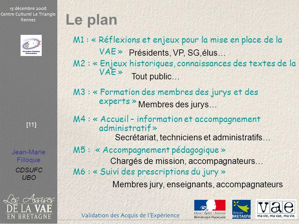 Le plan M1 : « Réflexions et enjeux pour la mise en place de la VAE »