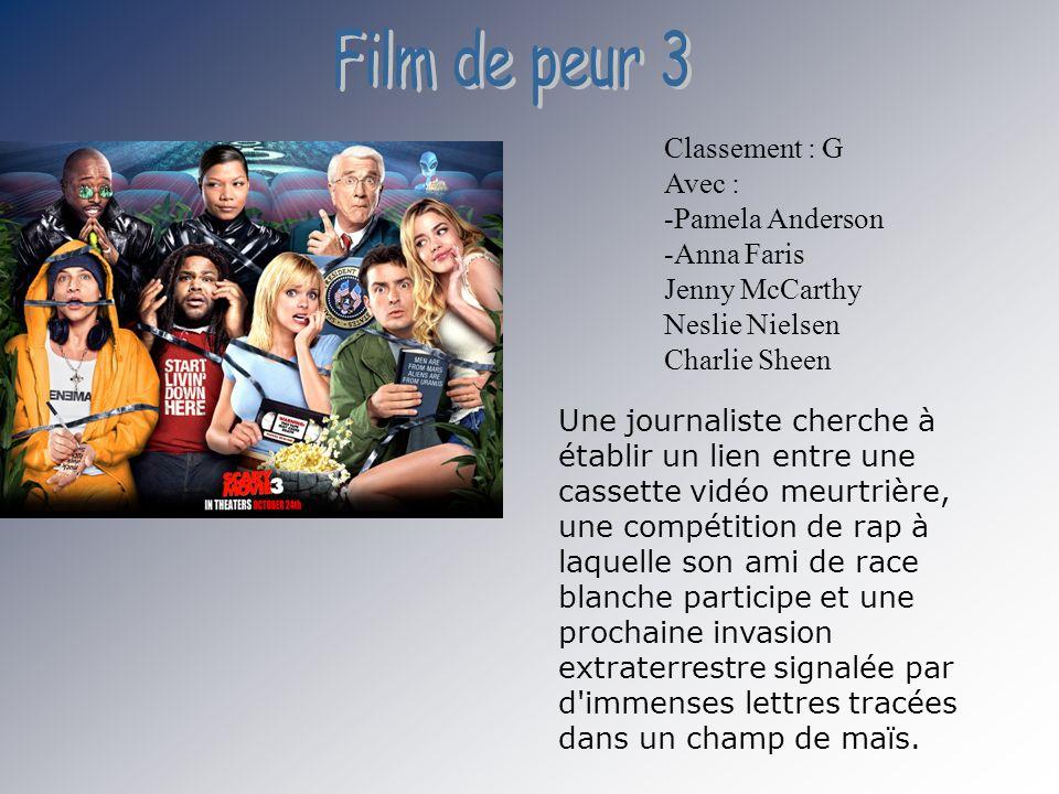 Film de peur 3 Classement : G Avec : -Pamela Anderson -Anna Faris Jenny McCarthy Neslie Nielsen Charlie Sheen.