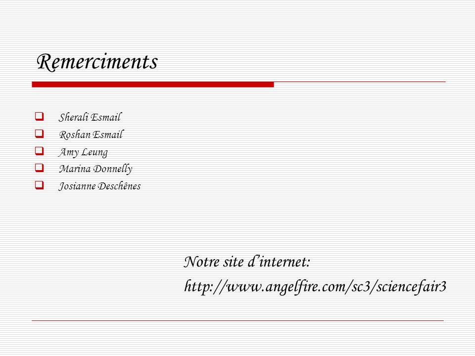 Remerciments Notre site d'internet: