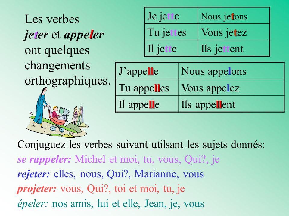 Les verbes jeter et appeler ont quelques changements orthographiques.