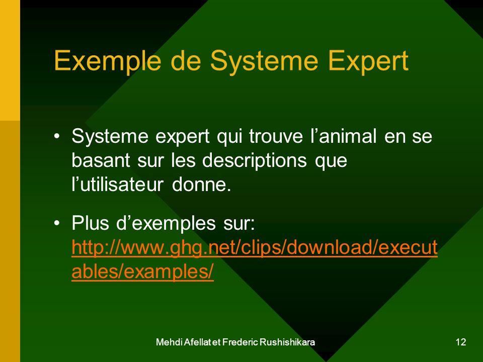 Exemple de Systeme Expert