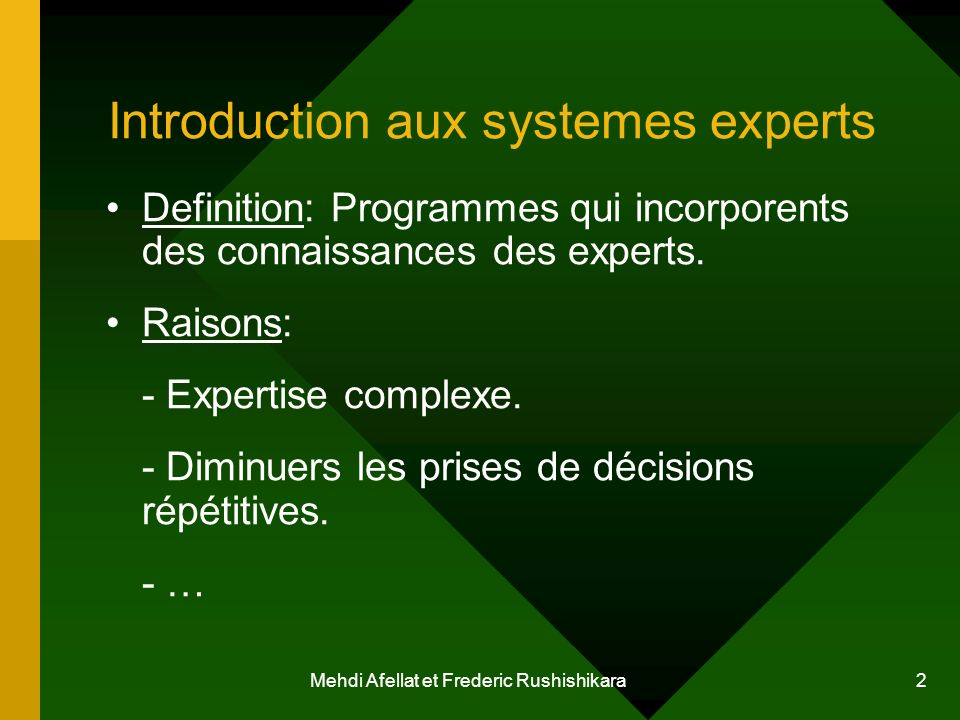 Introduction aux systemes experts