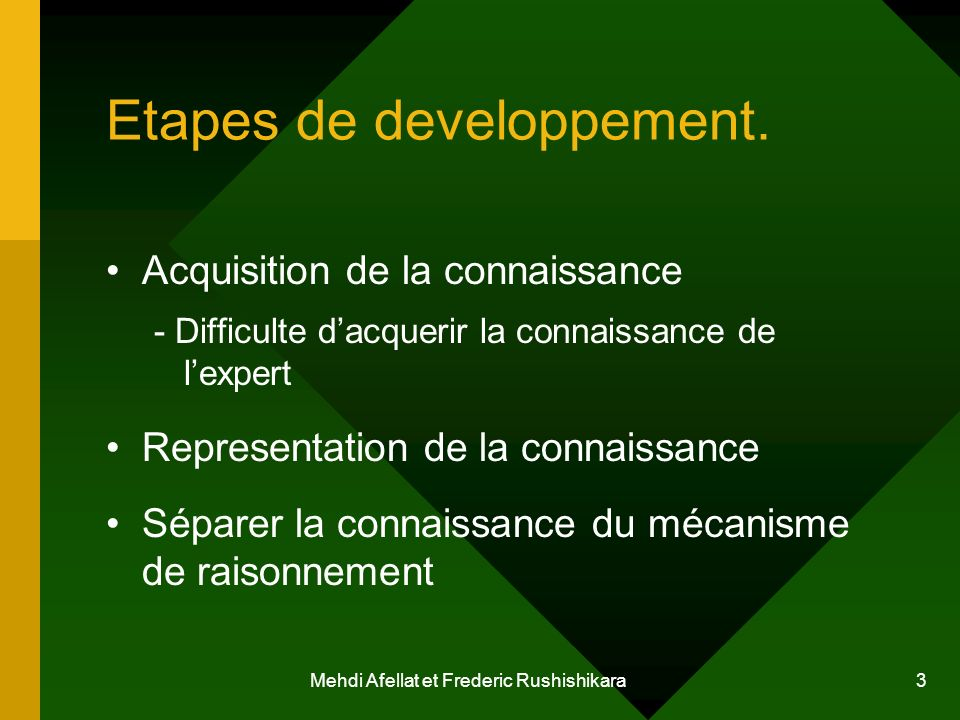Etapes de developpement.