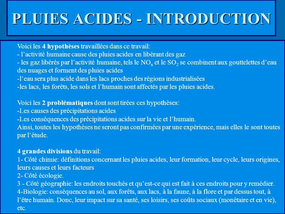 PLUIES ACIDES - INTRODUCTION