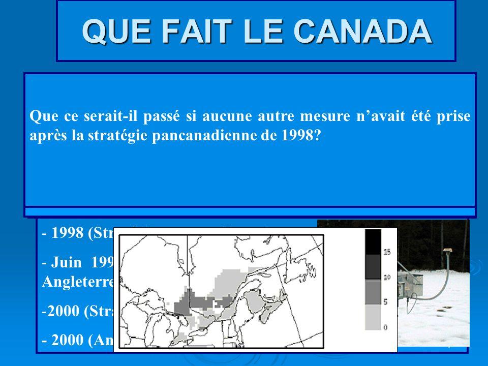 QUE FAIT LE CANADA Que ce serait-il passé si aucune autre mesure n'avait été prise après la stratégie pancanadienne de 1998