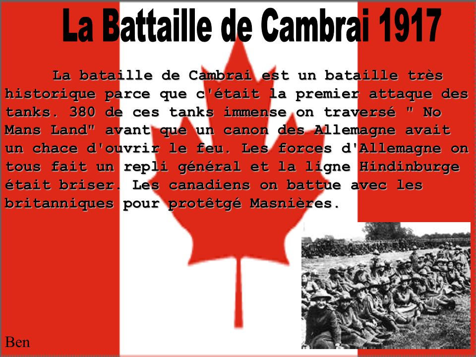 La Battaille de Cambrai 1917