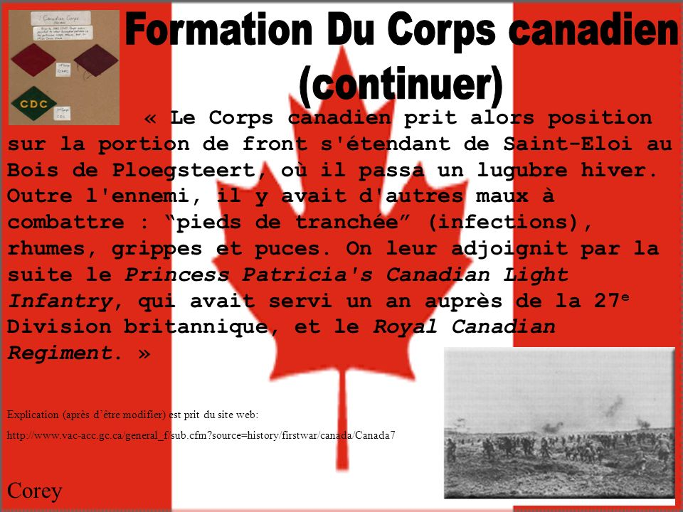 Formation Du Corps canadien