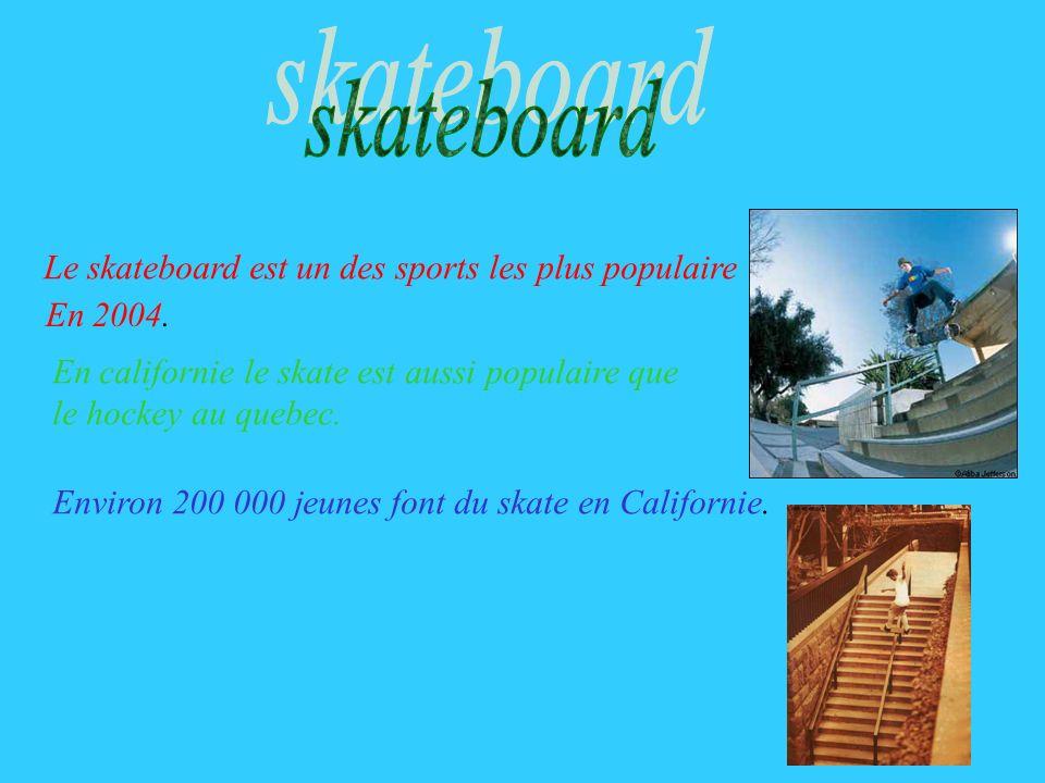 skateboard Le skateboard est un des sports les plus populaire En 2004.