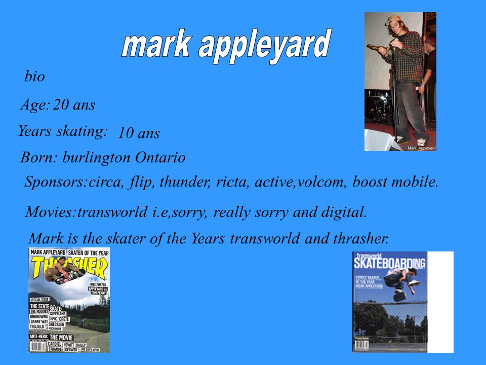 mark appleyard bio Age: 20 ans Years skating: 10 ans