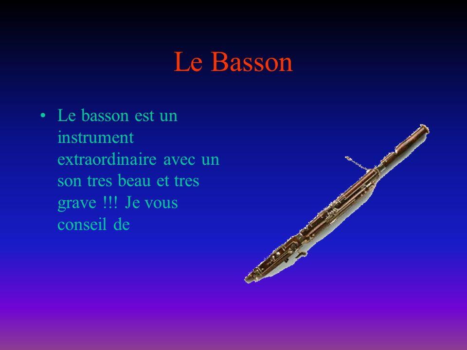 Le BassonLe basson est un instrument extraordinaire avec un son tres beau et tres grave !!.