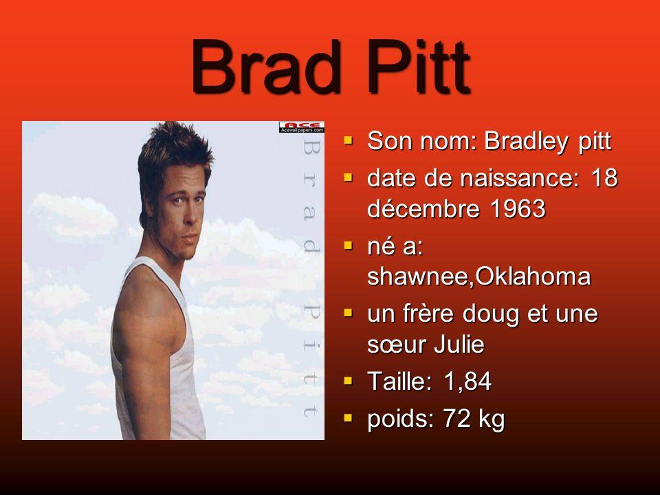 Brad Pitt Son nom: Bradley pitt date de naissance: 18 décembre 1963
