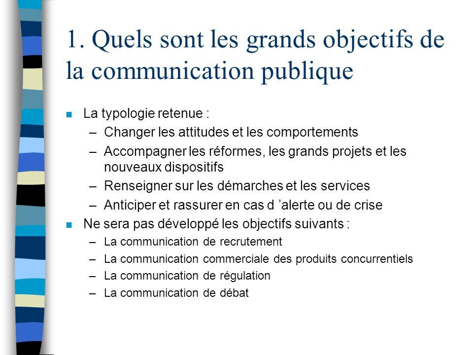 1. Quels sont les grands objectifs de la communication publique