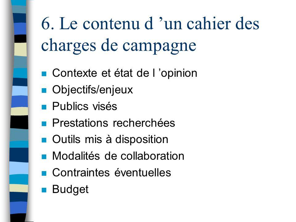 6. Le contenu d 'un cahier des charges de campagne