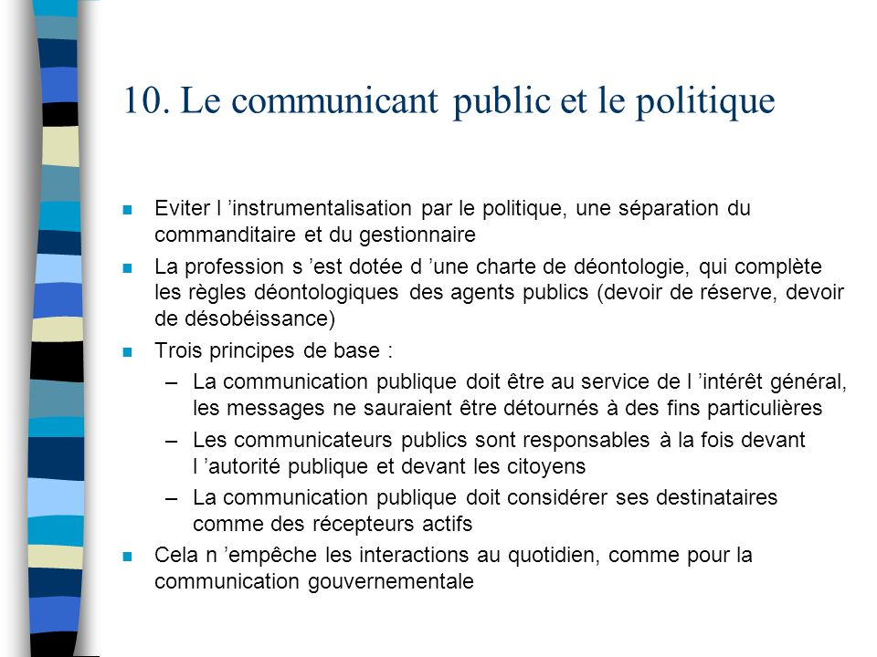 10. Le communicant public et le politique