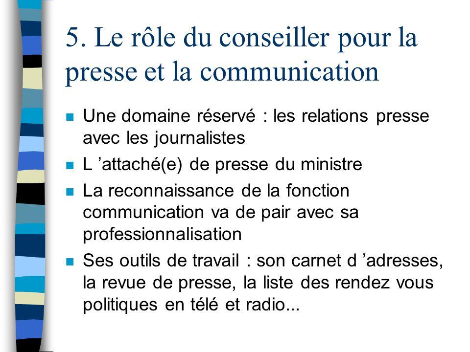 5. Le rôle du conseiller pour la presse et la communication