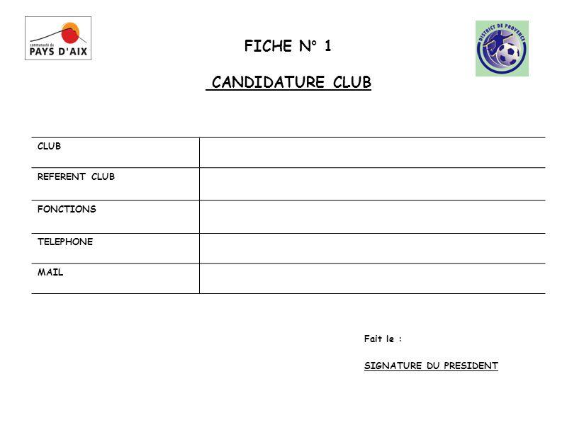 FICHE N° 1 CANDIDATURE CLUB